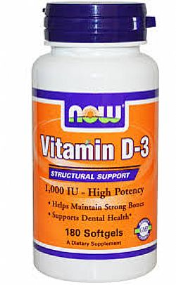 Vitamin D3 1.000 IU 180 Softgels NOW