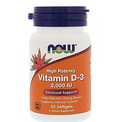 Vitamin D3 2000 IU 30 softgels NOW