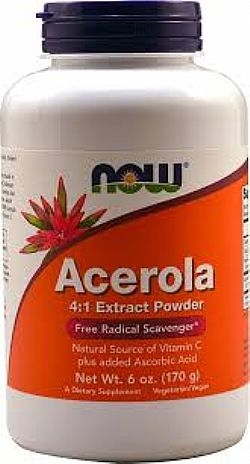 Acerola Pure Powder, Vegan 100 caps NOW